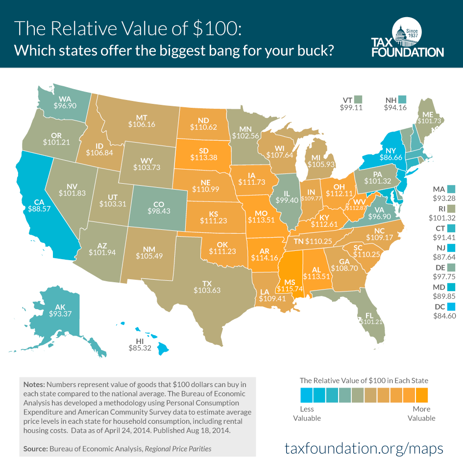 StateByState Comparison Indianas Cost Of Living Means Hoosiers - Cost of living comparison us map